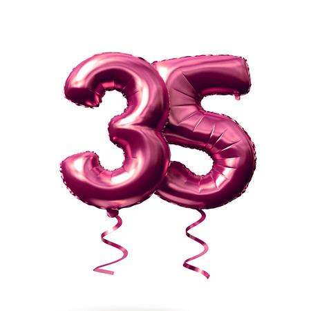 Globo de helio de oro rosa número 35 aislado sobre un fondo blanco. Render 3D