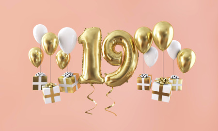 Number 19 birthday celebration gold balloon with presents. 3D Render