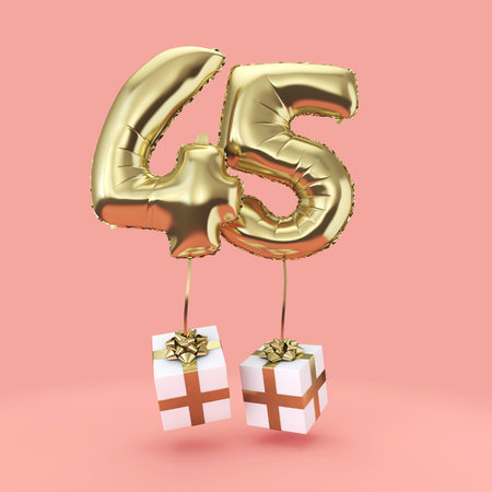 Number 45 birthday celebration gold foil helium balloon with presents. 3D Render