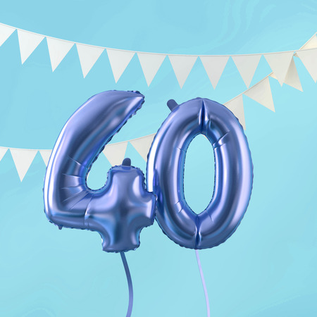 Happy 40th birthday party celebration blue balloon and bunting. 3D Render