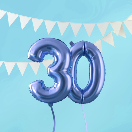 Happy 30th birthday party celebration blue balloon and bunting. 3D Render Imagens