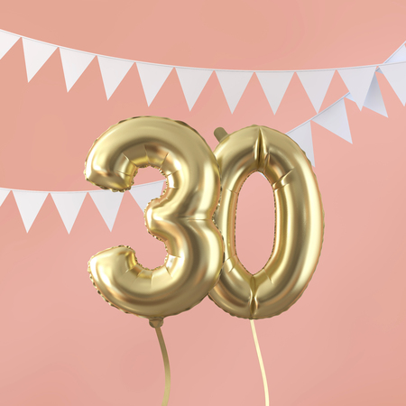 Happy 30th birthday party celebration gold balloon and bunting. 3D Render