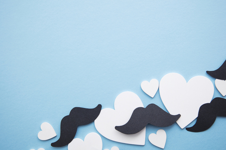 Black mustache with love hearts. Father's day or mens health concept Imagens - 124124055