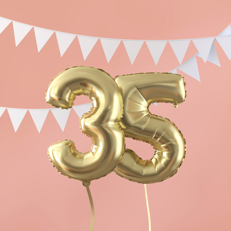 Happy 35th birthday party celebration gold balloon and bunting. 3D Render