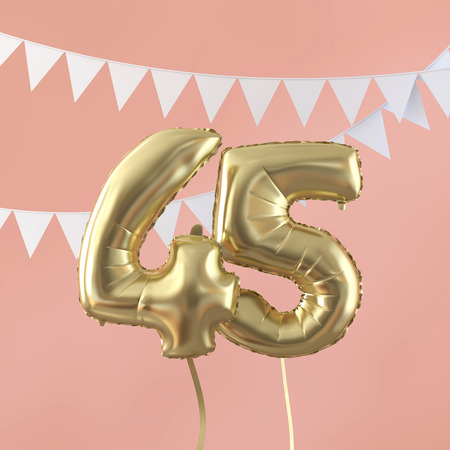 Happy 45th birthday party celebration gold balloon and bunting. 3D Render