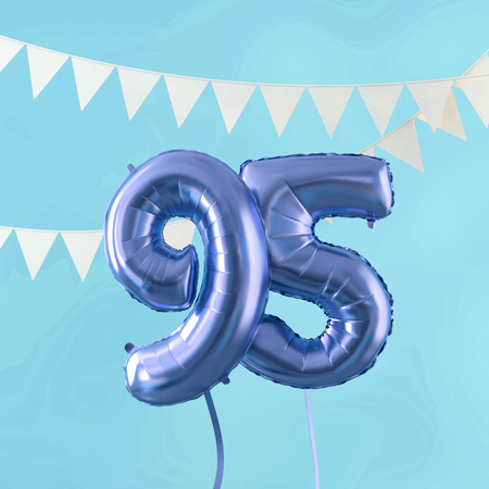 Happy 95th birthday party celebration blue balloon and bunting. 3D Render