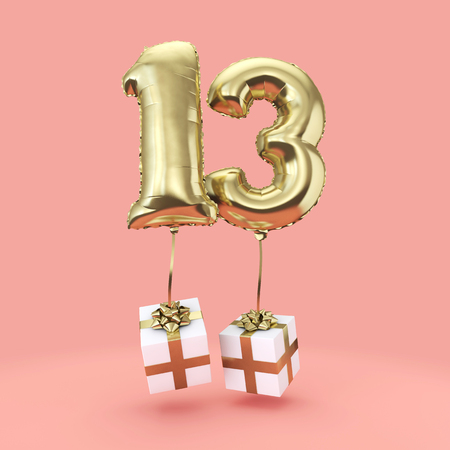 Number 13 birthday celebration gold foil helium balloon with presents. 3D Render