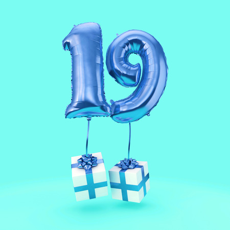 Number 19 birthday celebration foil helium balloon with presents. 3D Render Stock Photo
