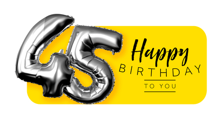 Happy 45th birthday yellow greeting background. 3D Rendering