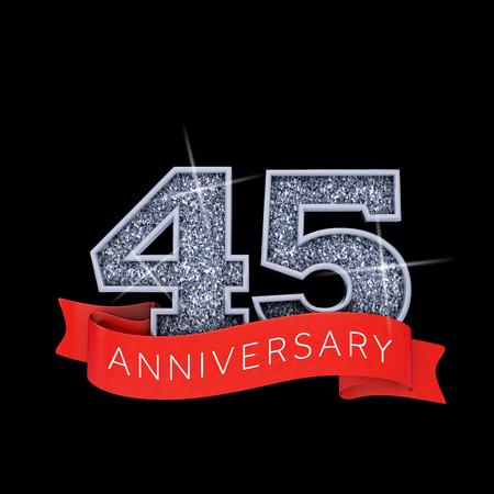 Number 45 silver sparkling anniversay celebration banner. 3D Render
