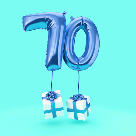 Number 70 birthday celebration foil helium balloon with presents. 3D Render