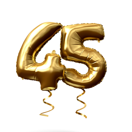 Number 45 gold foil helium balloon isolated on a white background. 3D Render Stok Fotoğraf