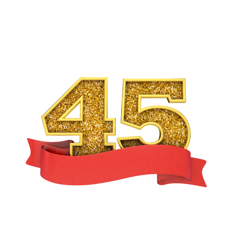 Number 45 gold glitter celebration with a red scroll banner. 3D Render Stok Fotoğraf - 124364560