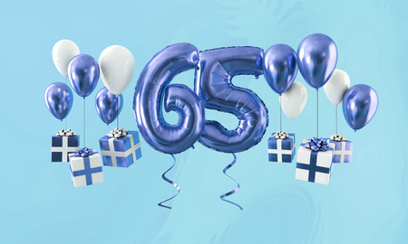 Number 65 birthday celebration gold balloon with presents. 3D Render