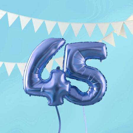 Happy 45th birthday party celebration blue balloon and bunting. 3D Render