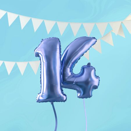 Happy 14th birthday party celebration blue balloon and bunting. 3D Render