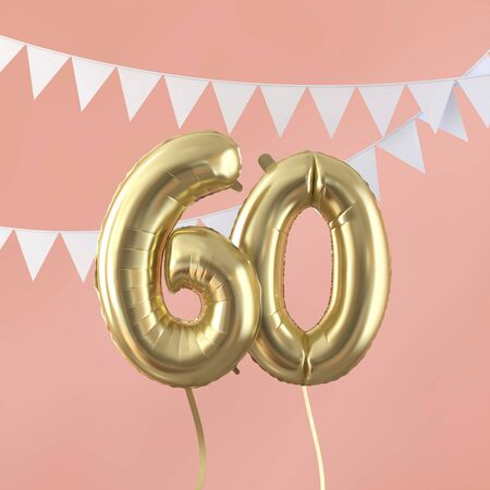 Happy 60th birthday party celebration gold balloon and bunting. 3D Render