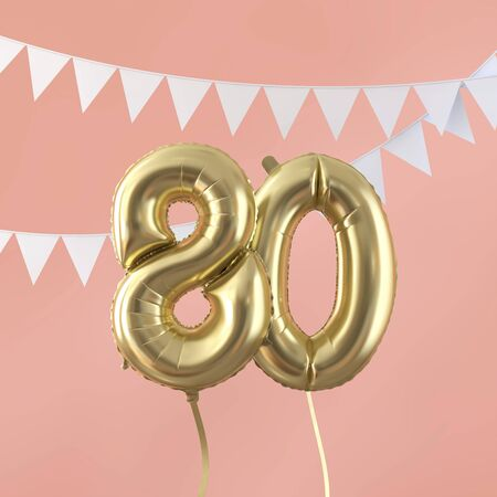 Happy 80th birthday party celebration gold balloon and bunting. 3D Render