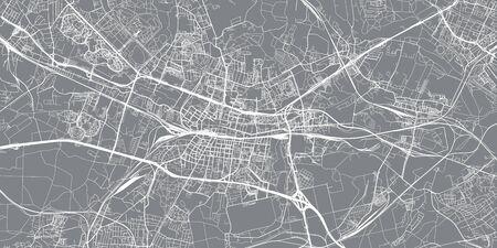 Miejski wektor mapa miasta Katowice, Polska Ilustracje wektorowe