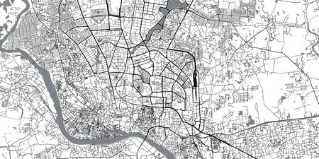 Urban vector city map of Dhaka, Bangladesh