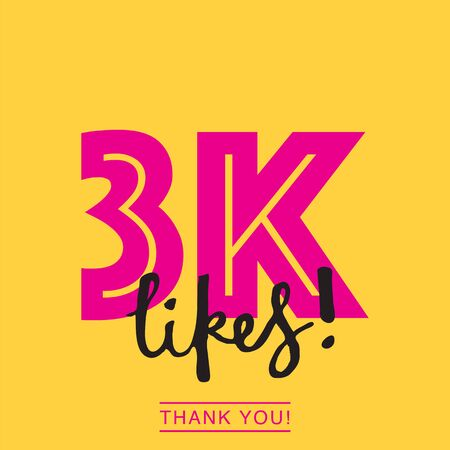 3k likes online social media thank you banner Ilustrace