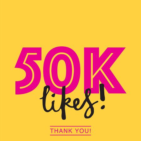 50k likes online social media thank you banner Banque d'images - 124920486