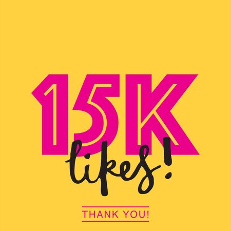 15k likes online social media thank you banner Illustration