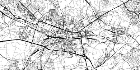 Urban vector city map of Katowice, Poland