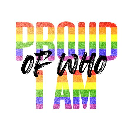 Proud of who I am banner. Gay LGBTQ rainbow flag banner 写真素材