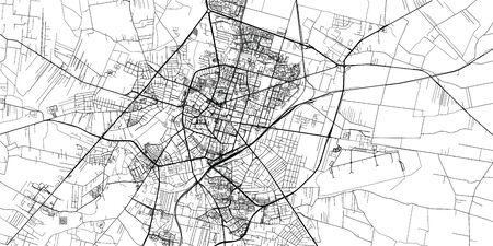 Urban vector city map of Radom, Poland