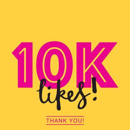 10k me gusta en las redes sociales en línea gracias banner