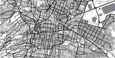 Urban vector city map of Mexico City, Mexico