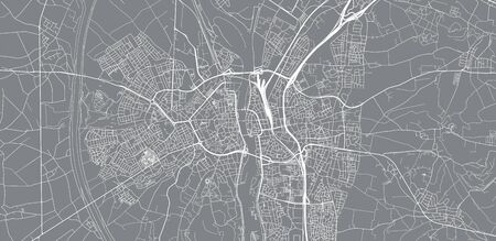 Urban vector city map of Maastricht, The Netherlands
