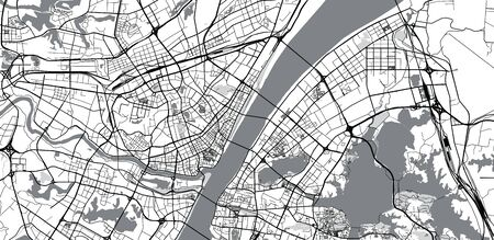 Urban vector city map of Wuhan, China