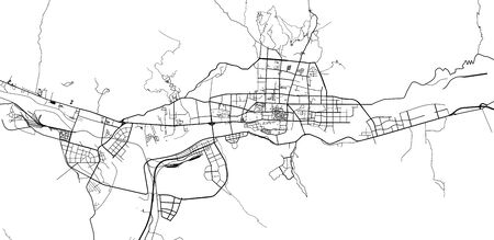 Urban vector city map of Lhasa, China