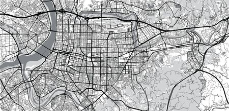Urban vector city map of Taipei, China