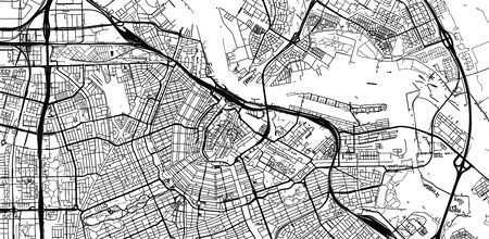 Urban vector city map of Amsterdam, The Netherlands Ilustrace