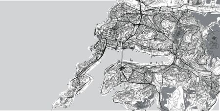 Urban vector city map of Vladivostok, Russia