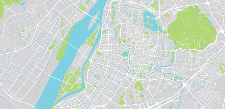 Urban vector city map of Nanjing, China Ilustrace