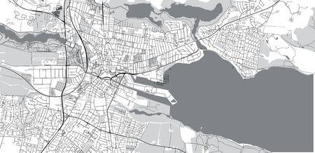 Urban vector city map of Horsen, Denmark