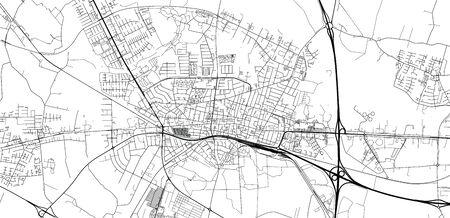 Urban vector city map of Herning, Denmark