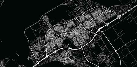 Urban vector city map of Almere, The Netherlands 일러스트