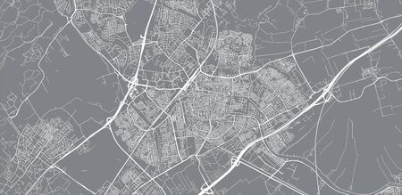 Urban vector city map of Leiden, The Netherlands Stockfoto - 129291063