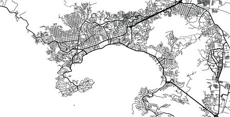 Urban vector city map of Acapulco, Mexico