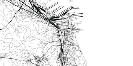 Urban vector city map of Gdynia, Poland
