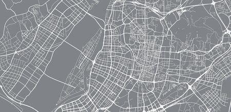 Urban vector city map of Nanjing, China Иллюстрация