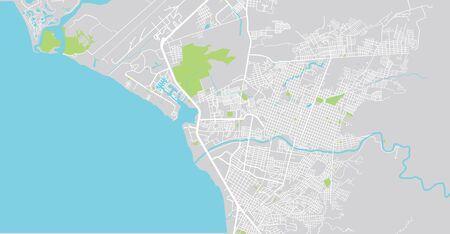 Urban vector city map of Puerto Vallarta, Mexico