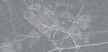 Urban vector city map of Deventer, The Netherlands