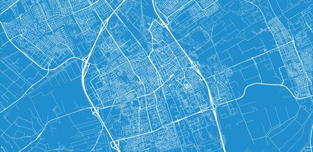 Urban vector city map of Delft, The Netherlands