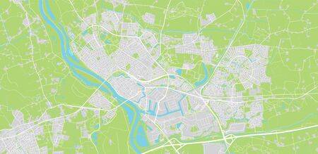 Urban vector city map of Deventer, The Netherlands Stockfoto - 129542593